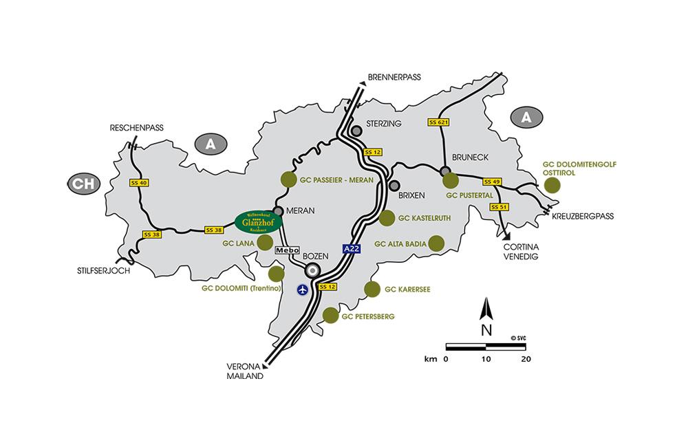 Karte der Golfplätze in Südtirol